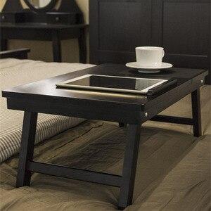 Image 5 - マジックユニオンポータブルラップトップテーブル木製ホームデスク大学の寮ベッド折りたたみテーブル膝怠惰なテーブル小規模な研究デスク