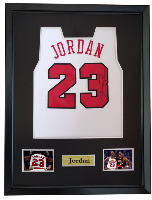 6332a33b02f79a Michael Jordan signed autographed basketball shirt jersey come with Sa coa  framed Bulls