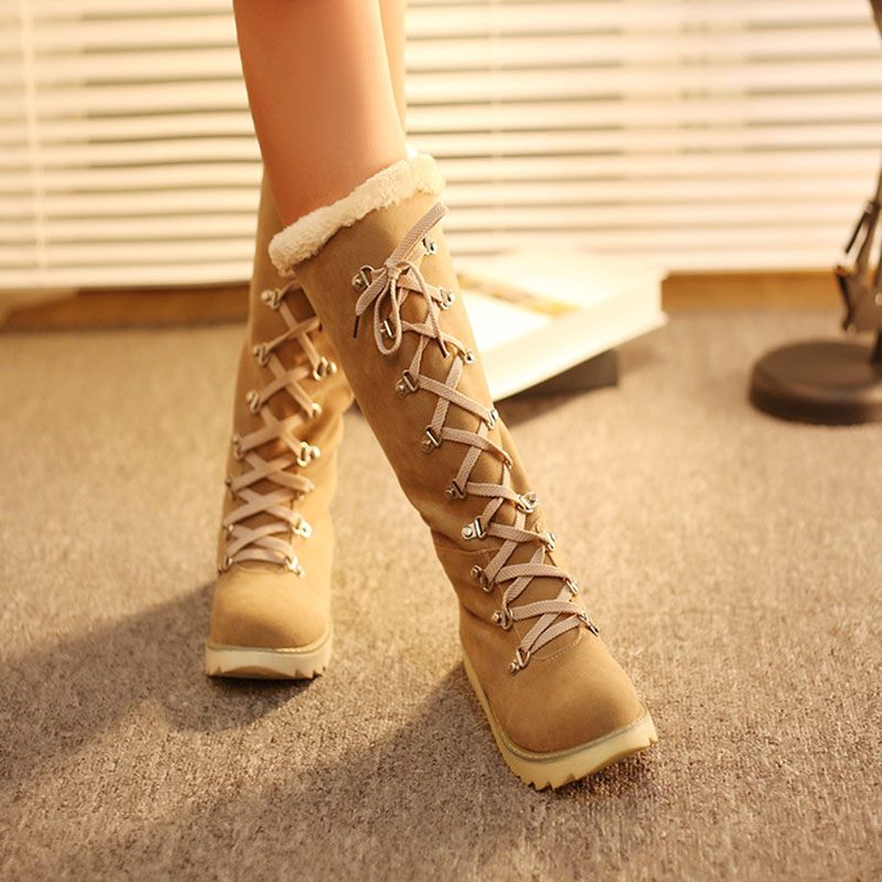 Masorini Women Fashion Flock Mid Calf Plush Snow Boots Female Lace up Wedge Boots Low Heel Metal Decoration Shoes W 216