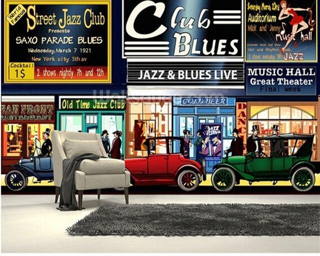 Benutzerdefinierte vintage retro tapete wandbild, New York Retro ...