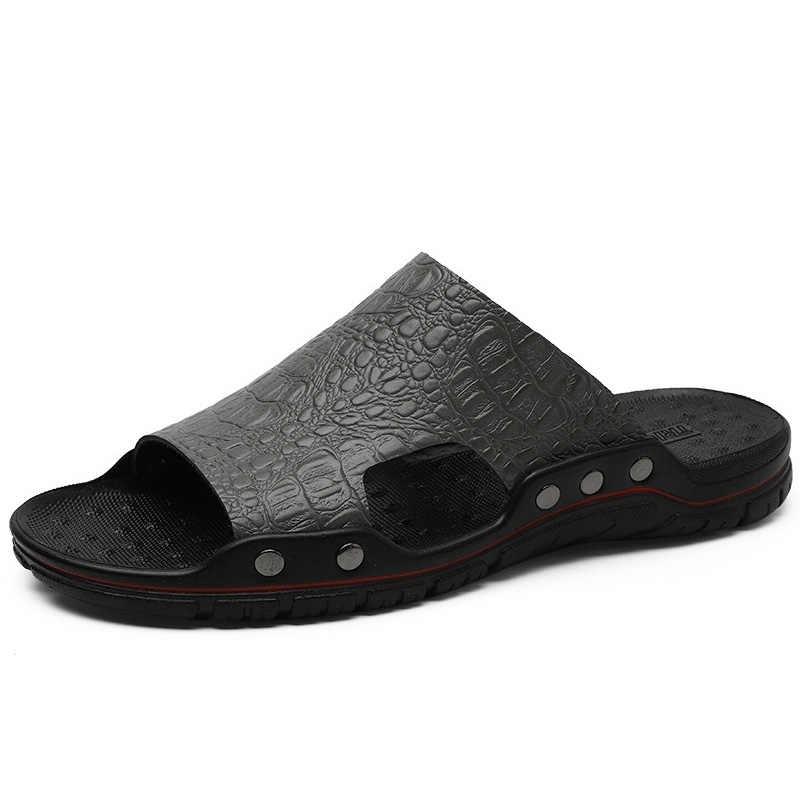 Mode Mannen Lederen Slippers Tij Comfortabele Mens Slides Teenslippers Mannen Zomer Slippers Indoor Outdoor Plus Size 47 48
