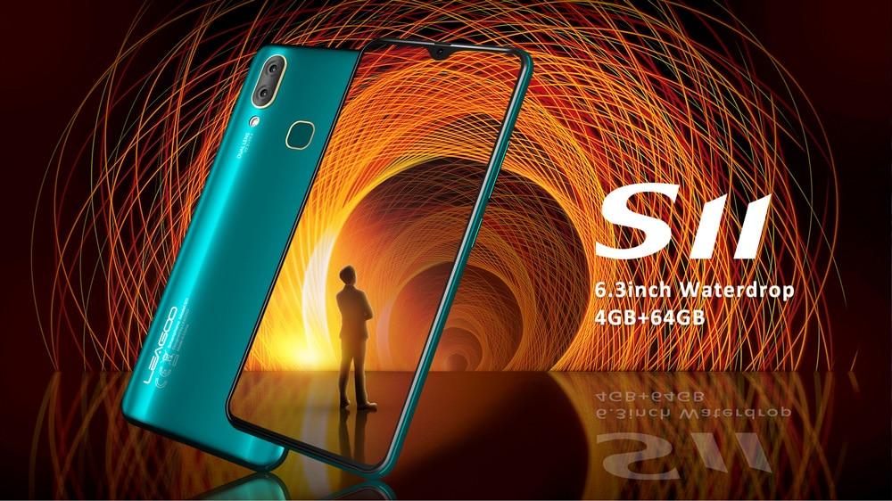 "HTB1Uo6MXLb2gK0jSZK9q6yEgFXal LEAGOO S11 4GB 64GB Mobile Phone Android 9.0 6.3"" Waterdrop Display Helio P22 Octa Core 13MP Dual Camera Fingerprint Smartphone"