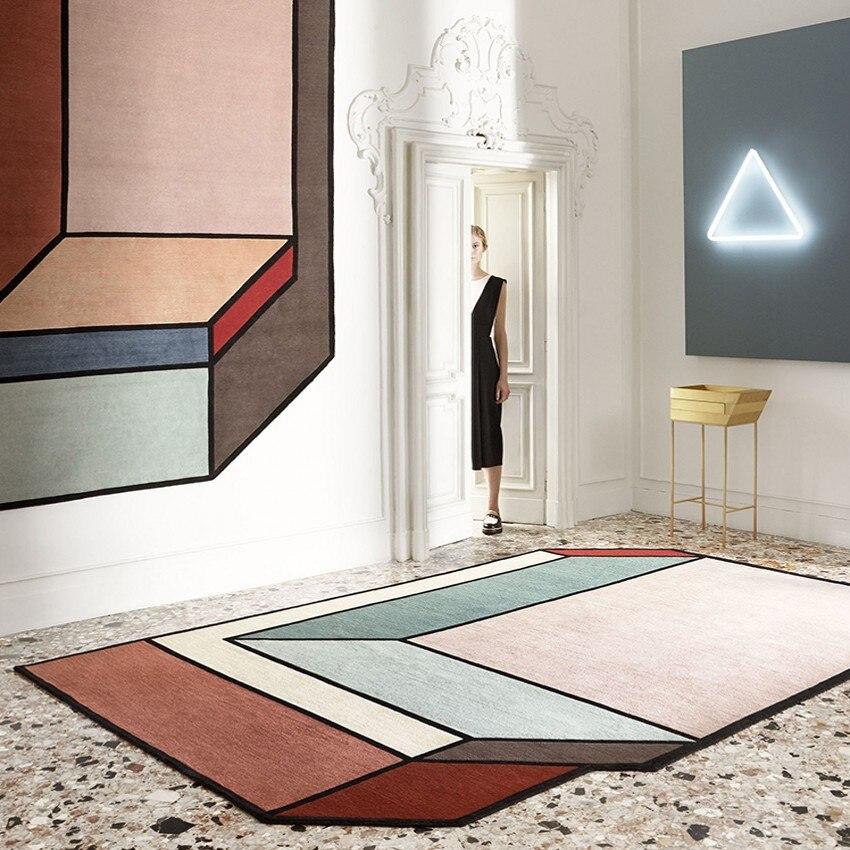 Style nordique Morandi couleur 3D tapis géométrique, grande taille tapis de salon motif drôle,, pastorale décoration de la maison tapis de chevet