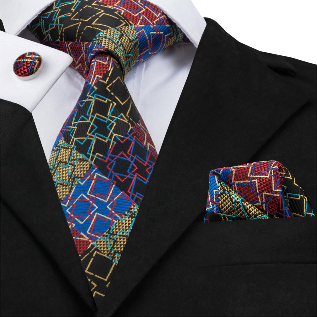 SN-1737 haute qualité soie hommes costume cravate ensemble Pour hommes cravate carré boutons de manchette classique nouveauté et géométrique Cavate Pour Homme