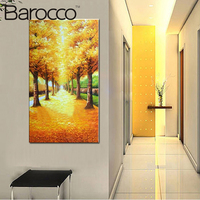 Modern Fashion Home Decoration Porch Wall art Picture Painting Oil Painting On Canvas Gold leaves Trees