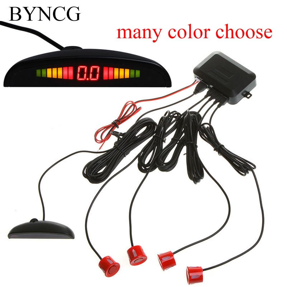 BYNCG Car Accessories Store Car Parking Sensor Monitor Auto Reverse Backup Radar Detector System + Backlight Display + 4 Sensors Parking Assistance