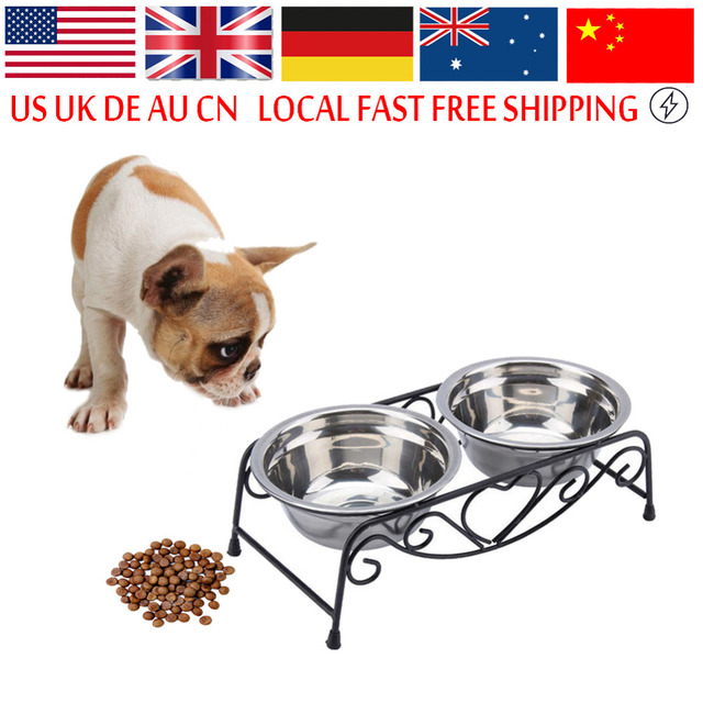 Universal Stainless Steel Dog Bowl Double Drinking Bowls Cat Dog Puppy Pet Water Food Feeder Dish Bowls Stand Gamelle Chat