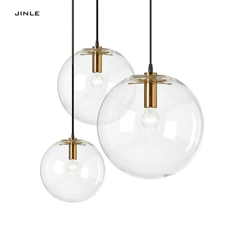 2017 Suspension Luminaire Designer lustre en verre minmaliste Loft décontracté Transparent salon chambre boule ronde E27 Led