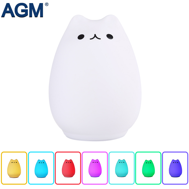 AGM Cute Cat LED Night Light USB Charge Lovely Silicon 7 Color Flashing Luminaria Touch Sensor Animal Lamp Children Baby Nursery