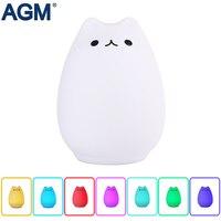 AGM Dễ Thương Cat LED Phụ Trách Ánh Sáng USB Đáng Yêu Silicon 7 Màu Nhấp Nháy Luminaria Cảm Biến Cảm Ứng Đèn Đèn Động Vật Trẻ Em Bé Nursery
