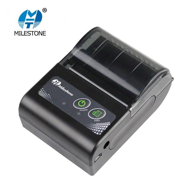 Milestone Thermal Printer Wireless Receipt bill 58MM Mini Bluetooth Printer Portable Machine for Windows Android IOS MHT-P10