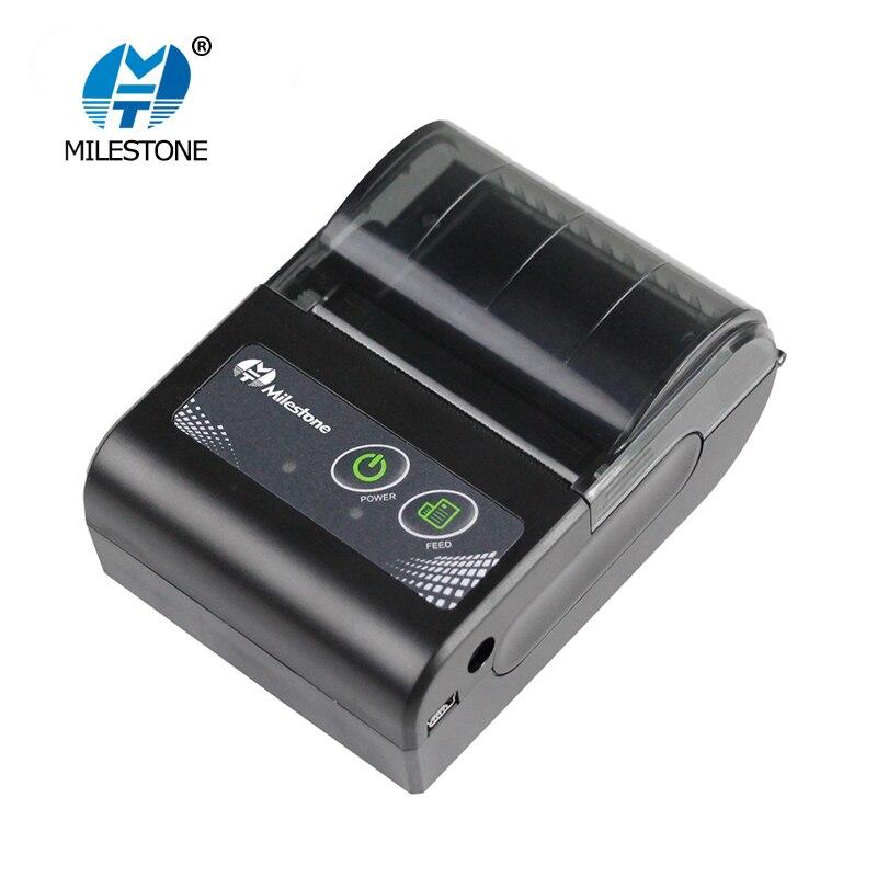 Milestone Thermische Drucker Wireless Empfang bill 58MM Mini Bluetooth Drucker Tragbare Maschine für Windows Android IOS MHT-P10