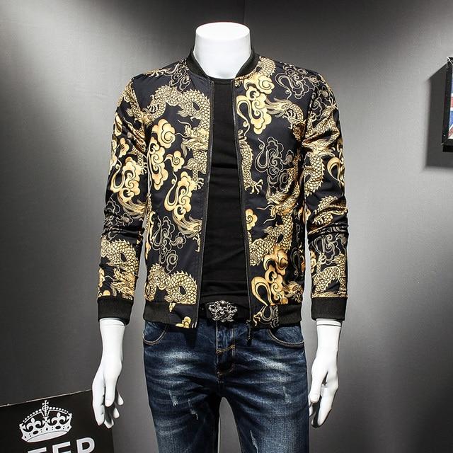 Dragon Gold Print Spring Autumn Jacket Hip Hop Fashion Prom Party Club Outfit Men Vintage Jacket Men Bomber Oversize 5xl
