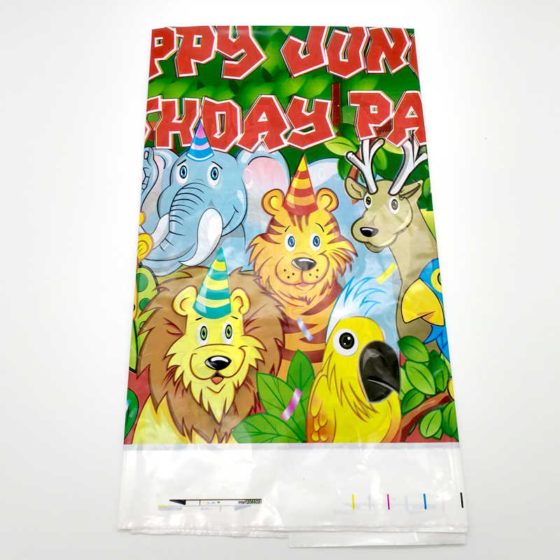 Kids Favors Tablecloth Happy Birthday Events Party Decoration Supplies Baby Shower Jungle Animal Theme Plastic Table Cover 1PCS