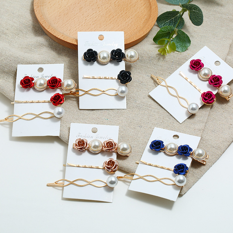 3 pcs/lot Fashion Ins Style Pearl Flower Barrettes Hairpins For Women New Geometric Gold Color Metal Bobby Pins Hair Accessory