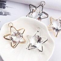 Freies Verschiffen 10 Stücke 40*44 MM Kristall Strass Schmuck Halskette Anhänger DIY 3D Aushöhlen Kawaii Sterne charme Handwerk