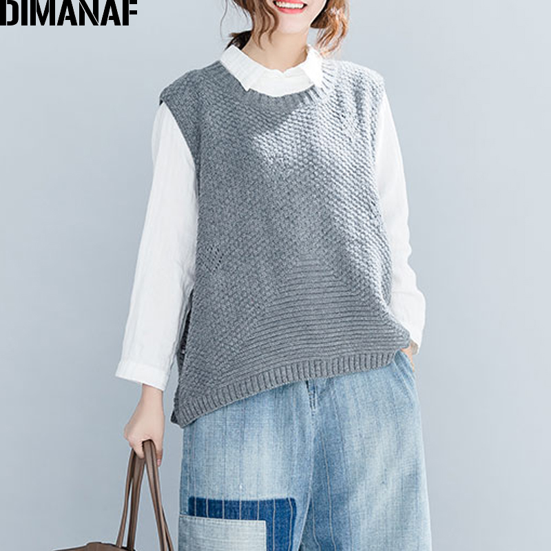 DIMANAF Women Sweater Cotton Knitting Sleeveless Vest Female Clothes Ladies Tops Pullovers Vintage Plus Size 2018 Autumn Winter