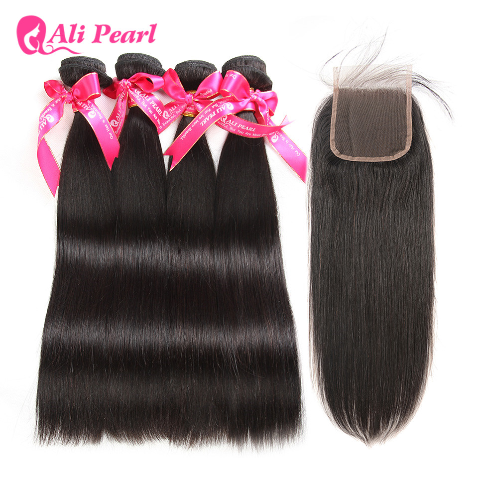 AliPearl Hair 4 Bundles With Closure Brazilian Straight Hair Weave Human Hair Bundles With Closure Remy Hair Extension 5Pcs/Lots