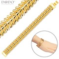 Gold Bracelet Men Jewelry New Trendy Gold Plated Fashion Feather Chain Stainless Steel Bracelet For Women B40207