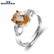 Mopera Sterling Silver Jewelry 2.1ct Natural Citrine Rings For Women Party Anniversary Heart Ring Fine Jewelry 2017 Brand New