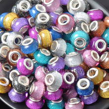 14MM 10Pcs Mixed Color silver plated Beads Charms Fit Pandora Jewelry Bracelet For Jewelry Handmade YKL0434X