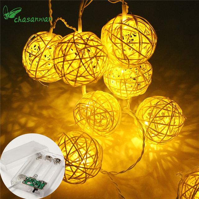 1.2M 10Rattan Ball Led String Fairy Lights Christmas Tree Ornaments Xmas Decoration Warm White LED Lights Home Garden Decor,J