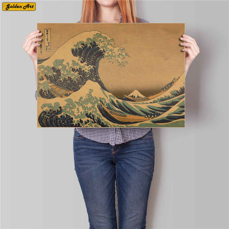 Japan Kanagawa ukiyo-e Sea surf Hand drawing Vintage kraft paper poster antique print picture Retro cafe 45.5x31.5cm