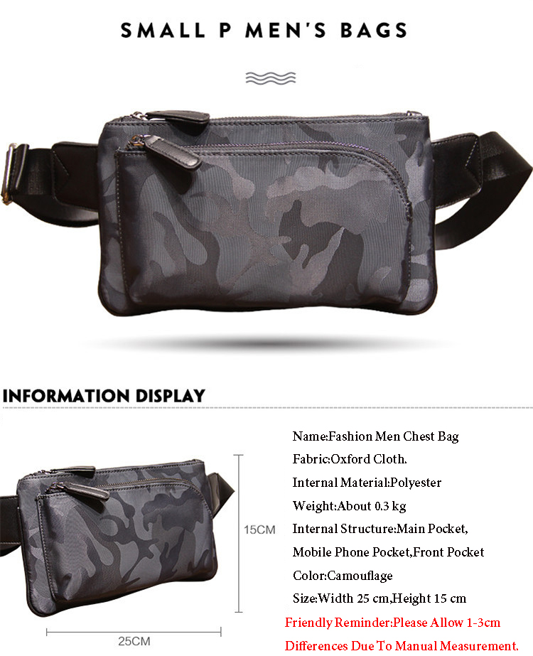 New Fashion Camouflage Men Chest Bags Brand Casual Male Waist Bag ... 9c3bce9f03a74