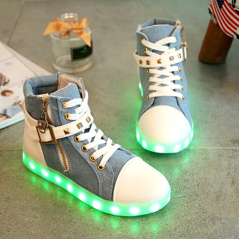ФОТО Women Led Shoes For Adults 2016 High Top Usb Charging Luminous Female Flat Luminous Light Up Shoe Glow Zapatillas Led Hombre