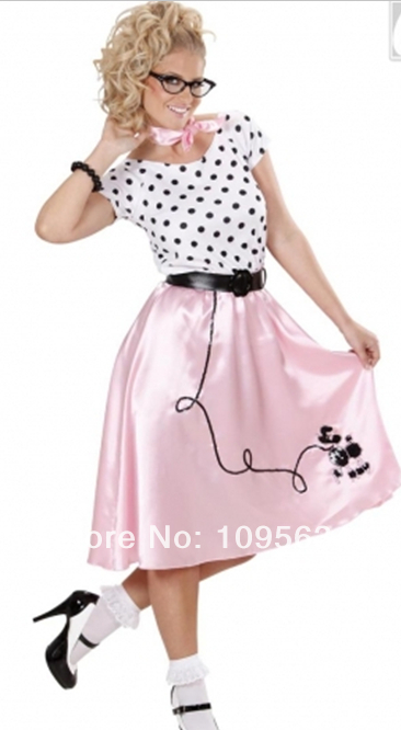 free shipping ladies all sizes polka dot 50s ladies bopper girl poodle fancy dress costume hen