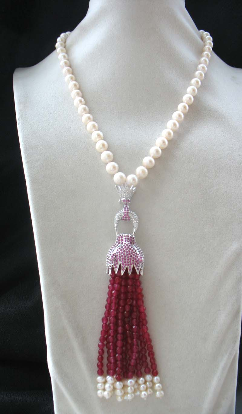 freshwater pearl white near round and red jade +leopard clasp necklace 18inch FPPJ wholesale beads nature