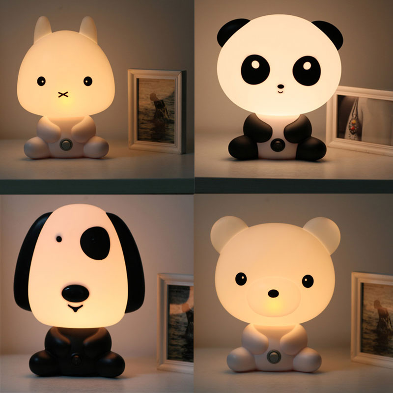 NEW Baby Room Panda/Rabbit/Dog/Bear Cartoon Night Light Kids Sleeping Bed Lamp Night Sleeping Lamp Best LamparasGifts EU/US Plug top baymax cartoon night light lamp 110v 220v us eu plug baby room led energy saving lamp kids light bedside lamp lighting