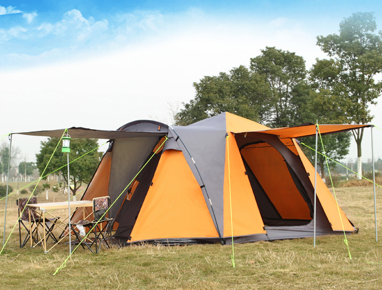 New style high quality double layer automatic 3-4 person 4 doors ultralarge waterproof windproof camping tent high quality outdoor 2 person camping tent double layer aluminum rod ultralight tent with snow skirt oneroad windsnow 2 plus
