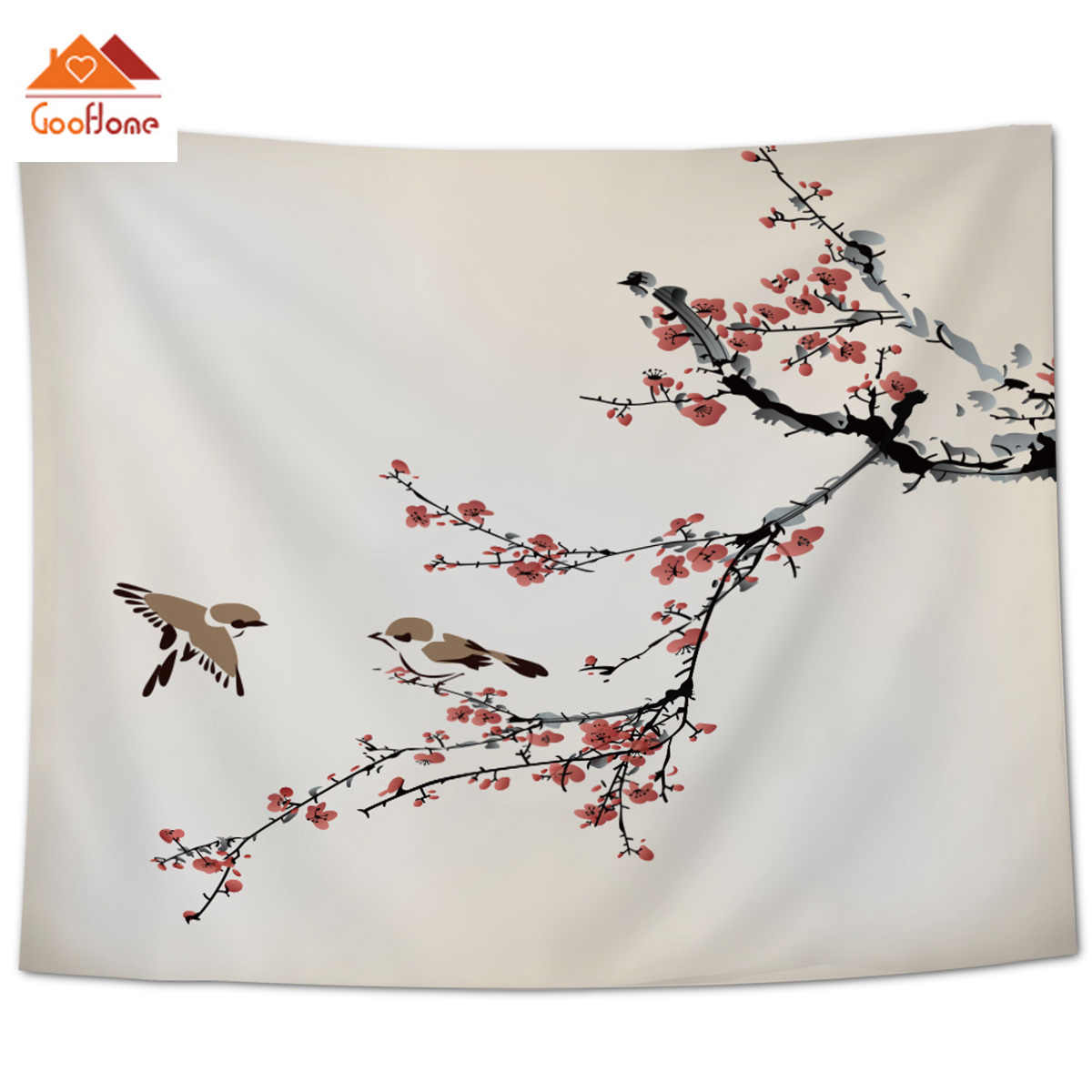 Goohome Plum Blossom Japanese Wall Decor Wall Decor Tapestries Bedspread Coverlet Wall Art Curtain Throw Towel Hypoallergenic