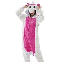 Adult Flannel Pajamas Cosplay Costume Cute Cartoon Animals Unicorn Piece Pajamas Pajamas