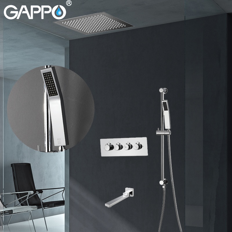 GAPPO Shower Faucets Concealed thermostat rainfall shower Faucet Waterfall wall shower mixer tap Bath mixers Faucet gappo shower faucet waterfall shower mixer tap rainfall shower faucet shower head in wall bathroom faucet mixer