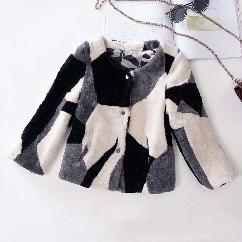 JKP baby children's fur coat girls wool shearing one short round neck big boy winter 2018 new children's jacket