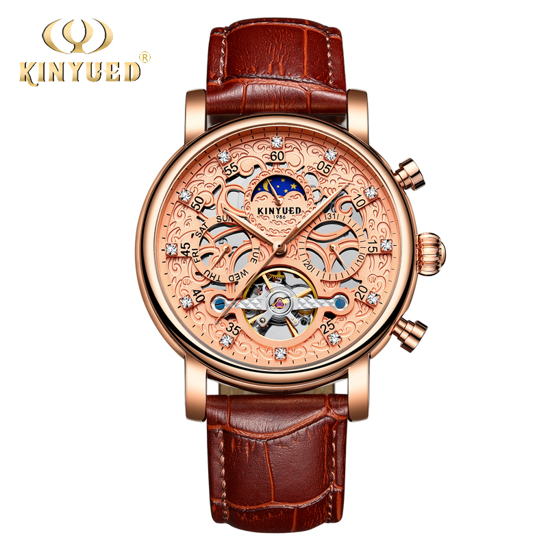 KINYUED Moon Phase Automatic Watch Mens Mechanical Calendar Tourbillon Watches Skeleton Men Fashion Retro Montre Homme with Box kinyued skeleton mechanical watches mens classic rose gold tourbillon automatic watch men moon phase calendar relogio masculino