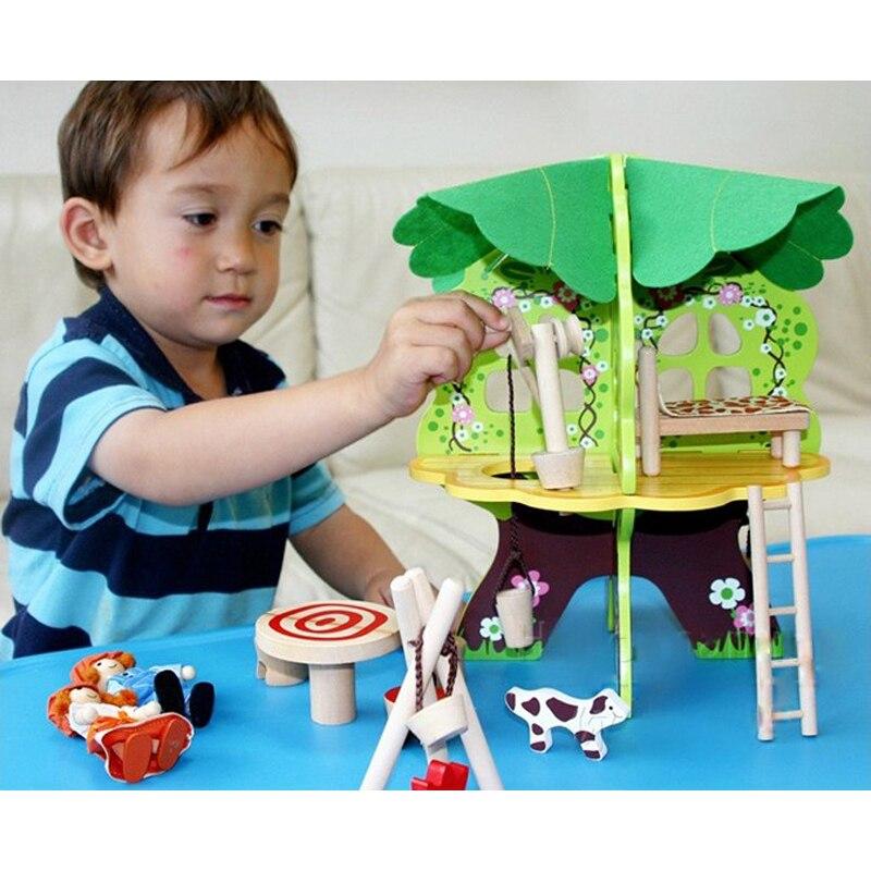 Baby holz 3D baum puppenhaus puzzle kinder geburtstag geschenke holz ...