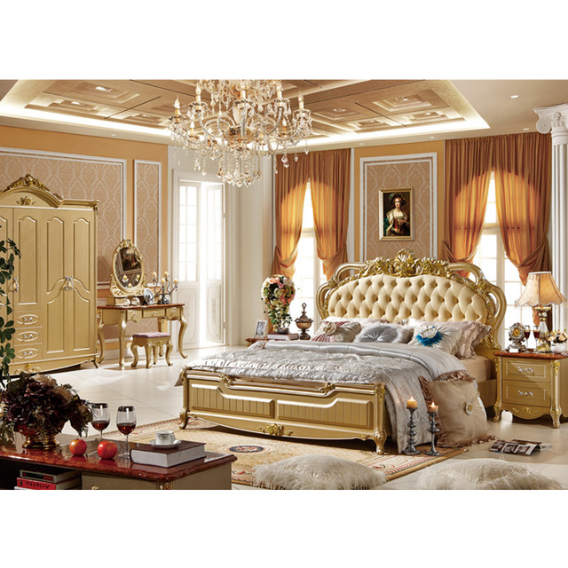 Luxury Antique Hand Carved Bed Top Quality Europe Style Bedroom Furniture Clical Villa Gold