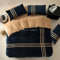 Winter Warm Flannel Soft Thickened 4Pcs Full/Queen/King Size Bed Quilt/Duvet/Doona Cover Set Sheet 2x Shams Sports Navy Blue