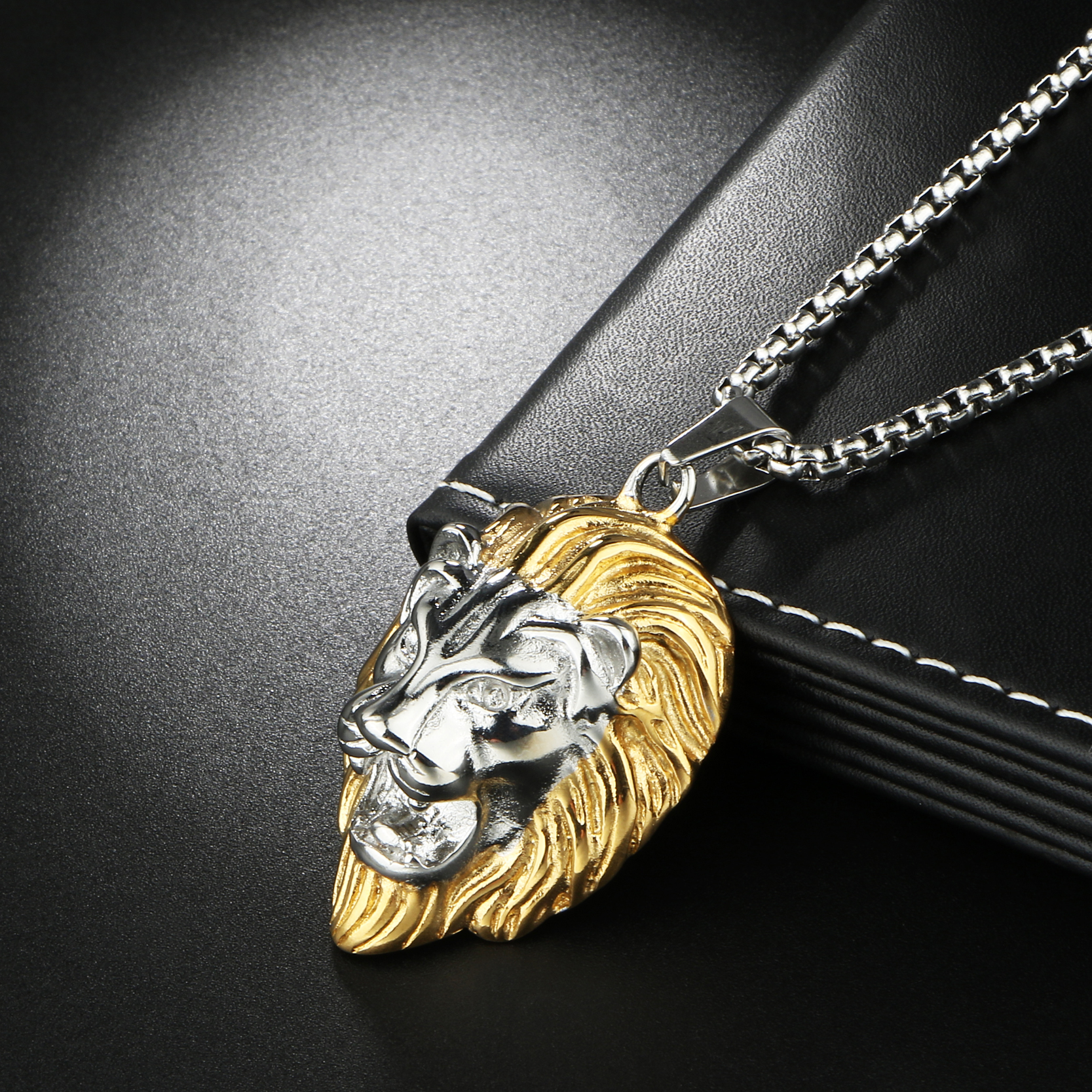 with chain cuban link pendant products small original necklace denim steel head lion stainless