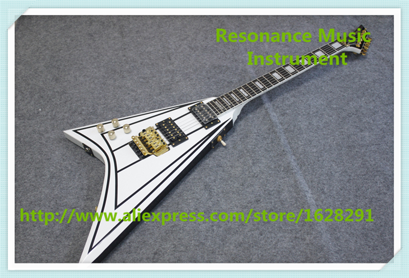 Hot Sale Jack Randy Rhoads Signature Flying V Left Handed Electric China Guitar With Floyd Rose Tremolo