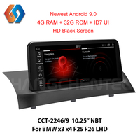 4G ram HD Black Screen 1920x720 Android 9 Screen for BMW x3 x4 F25 F26 NBT Support OEM iDrive Aux BT WiFi Rear Cam GPS Sat Navi