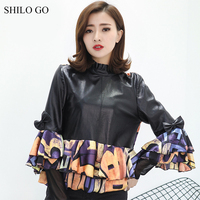 SHILO GO Leather Blouse Womens Spring Fashion Sheepskin Genuine Leather Coat Turtleneck Collar Butterfly Sleeve Spliced