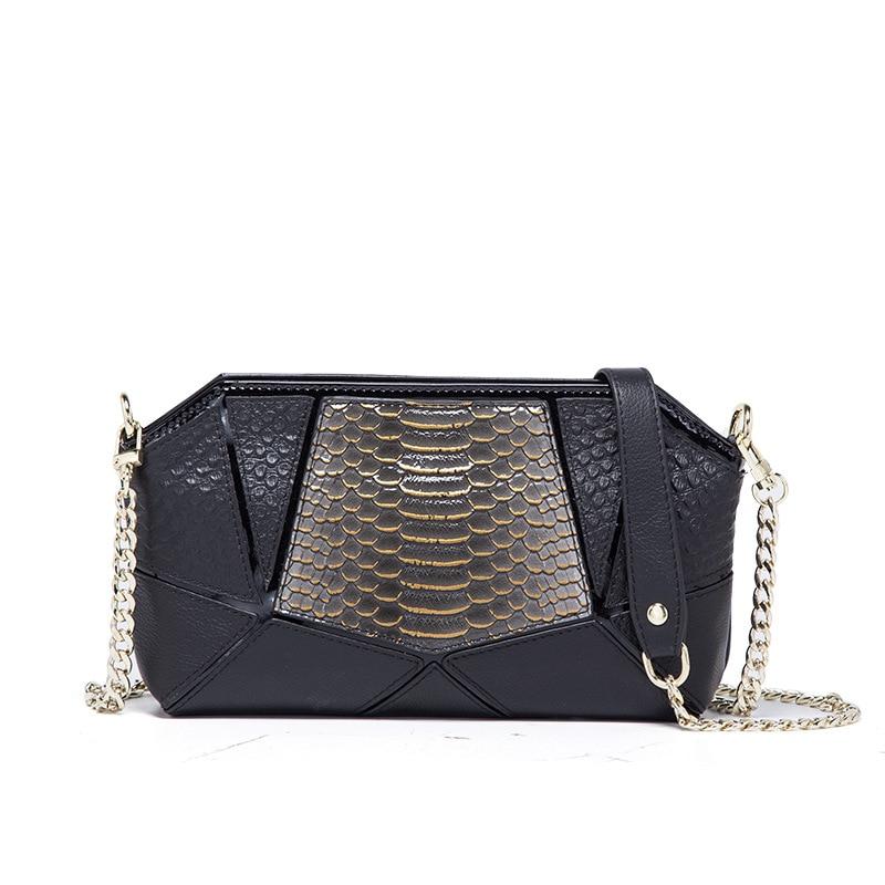 New Fashion handbag ladies small bag new leather clutch bag snake chain single shoulder slung hand grab bag pebble detail grab bag