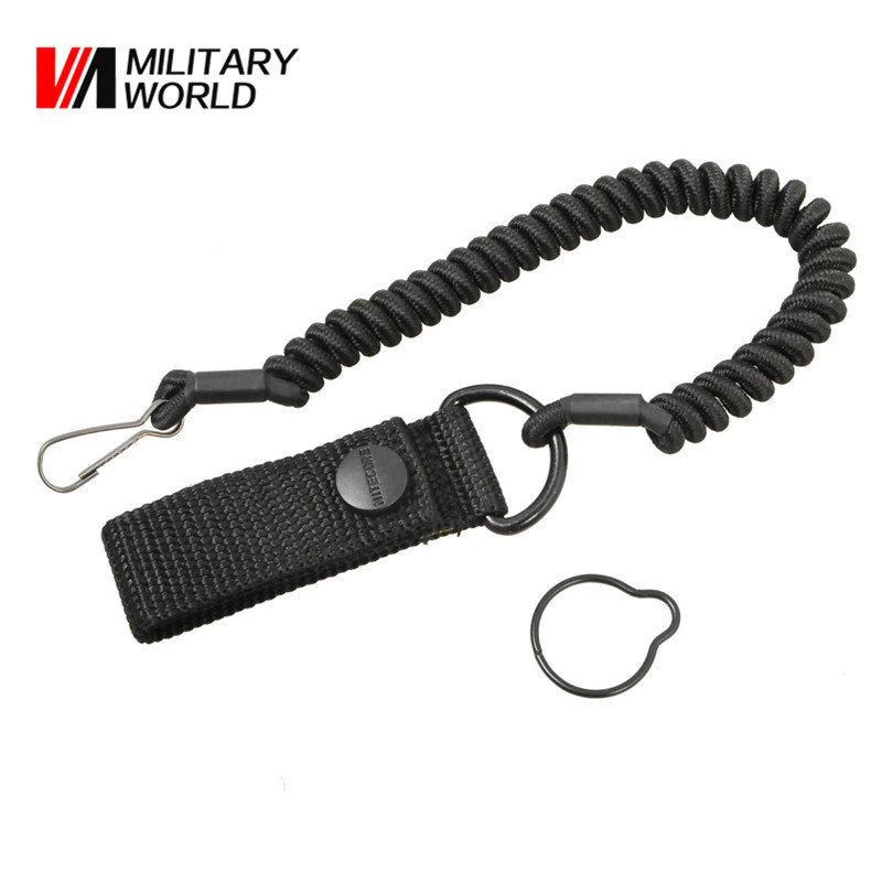 Combat Sling Telescopic Tactical Pistol Hand Gun Secure Lanyard Adjustable Spring Sling With Blet Buckle For Rifle Flashlight tourbon tactical rifle gun sling with swivels shotgun carrying shoulder strap black genuine leather belt length adjustable