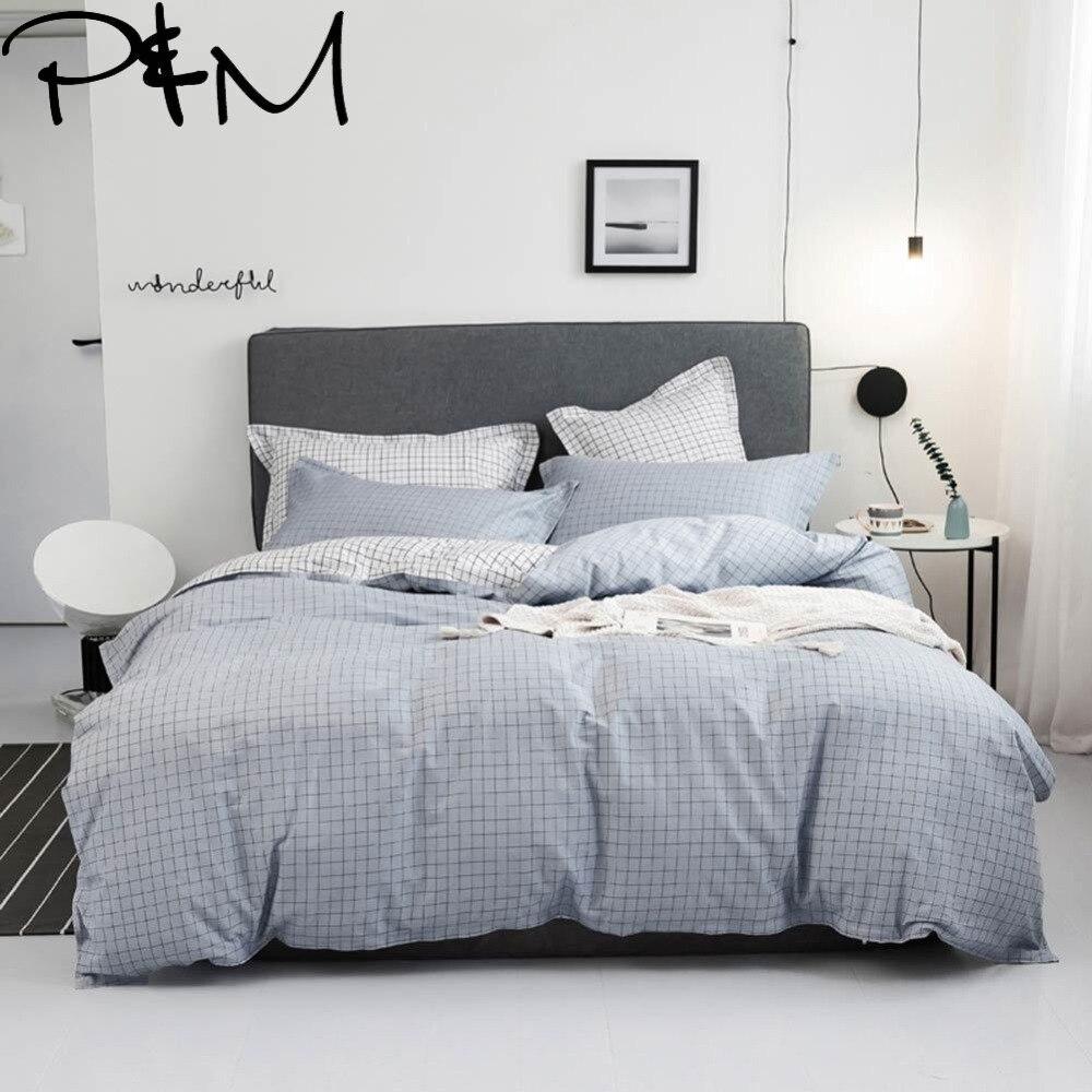 PAPA & MIMA Japanischen minimalistischen stil bettwäsche sets baumwolle Twin Einzel Königin Größe bettbezug bettlaken kissenbezüge-in Bettwäsche-Sets aus Heim und Garten bei  Gruppe 1