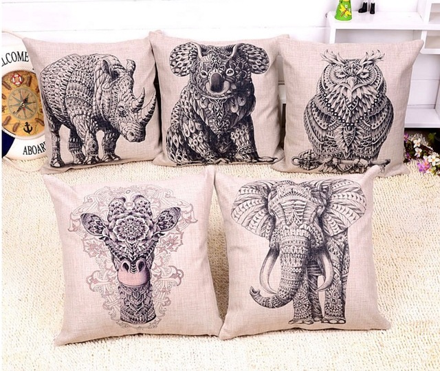 Elephants Koalas Rhino Owl Giraffe Pencil Sketch Hd Emoji Pillow Massager  Decorative Pillows Cover Euro Home