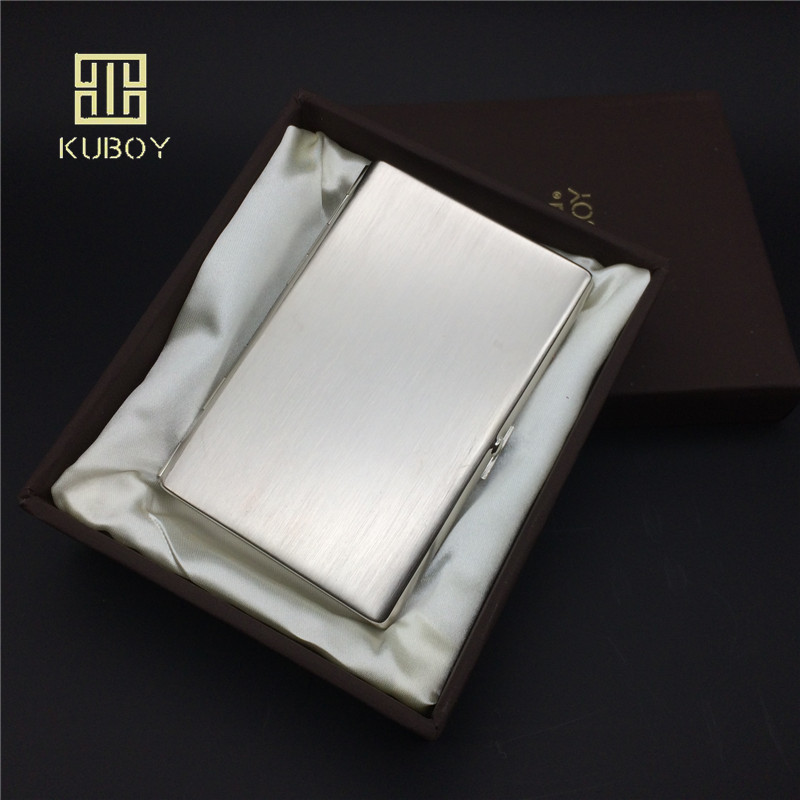 Kuboy KC5-01 Stainless Steel Cigarette Boxes For 12 Pcs 100mm's Long Slim Cigarettes Metal Cigarette Boxes Storage Box & Bin